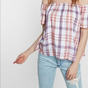 NWT Express Plaid Pink Off the Shoulder Top